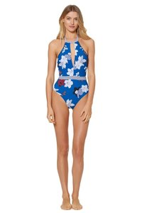 Red Carter PLUMERIA HALTER PLUNGE KEYHOLE ONE-PIECE SWIMSUIT RCPM118852