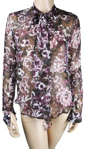 Ro & De Sheer Floral Tie Top Black