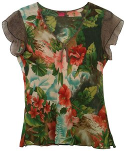 Sunny Leigh Silk Short-sleeves Tropical Flowers V-neck Top Multi-color