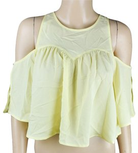 Robin K Crop Off Shoulder Top Yellow