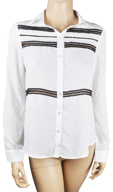 Item - White Blouse Button Up Black Long Sleeve Button-down Top Size 6 (S)
