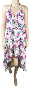 Ro & De short dress White Hi Lo Halter Floral Asymmetrical on Tradesy