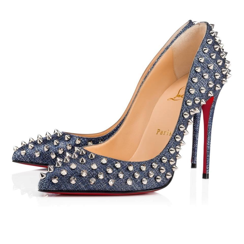 f67a68ebc Christian Louboutin Blue Follies Spike Studded 100 Denim Pumps Size ...