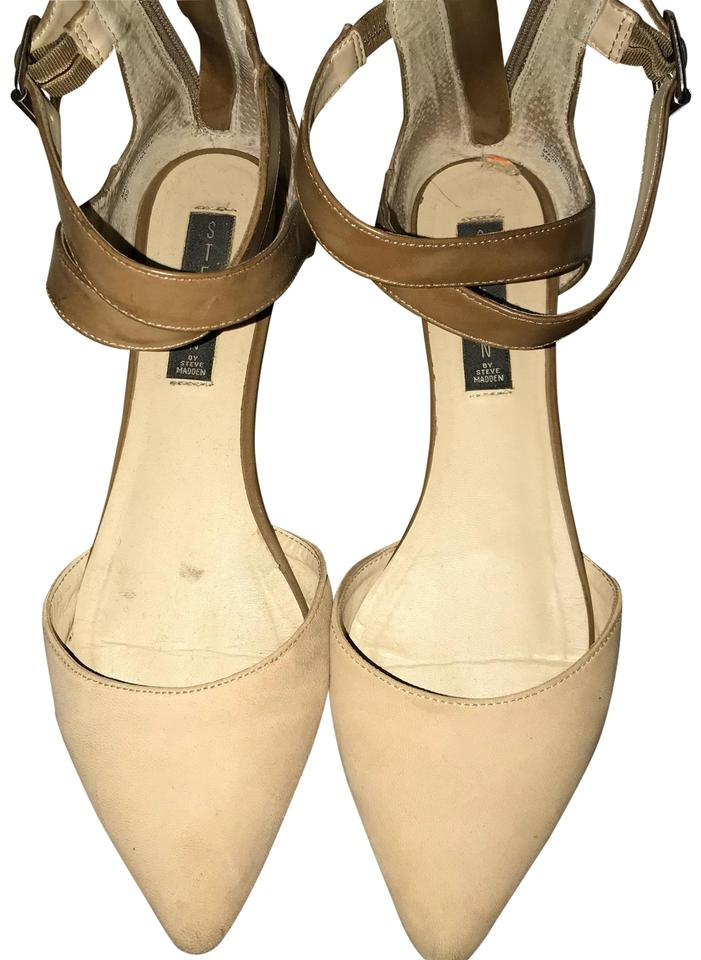c103ac09fc25 Steven by Steve Madden Ankle Strap Crisscross Strap Pointed Toe Flat  Cream Nude Sandals Image ...