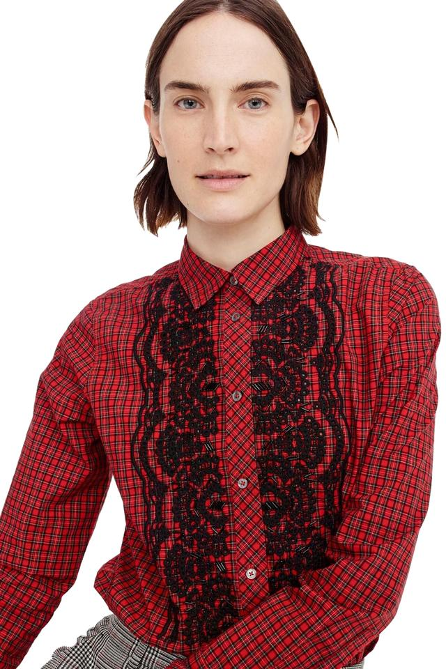 499bfe4f J.Crew Red Embellished Plaid Ruffle Front Boy Shirt Button-down Top ...