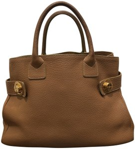 Barneys New York Leather Pebbled Gold Hardware Tote in tan