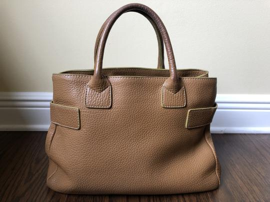 Barneys New York Leather Pebbled Gold Hardware Tote in tan Image 1