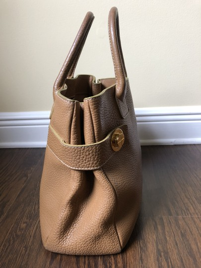 Barneys New York Leather Pebbled Gold Hardware Tote in tan Image 3