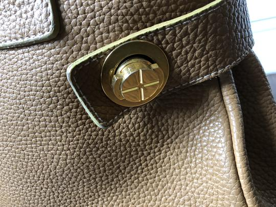 Barneys New York Leather Pebbled Gold Hardware Tote in tan Image 6