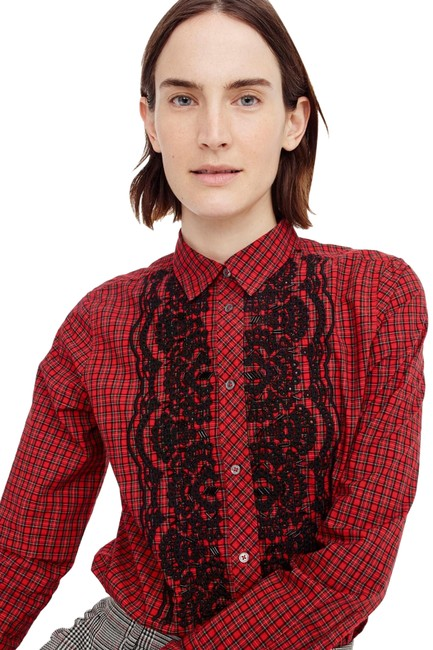 Preload https://img-static.tradesy.com/item/23732603/jcrew-red-embellished-plaid-ruffle-front-boy-shirt-button-down-top-size-8-m-0-1-650-650.jpg
