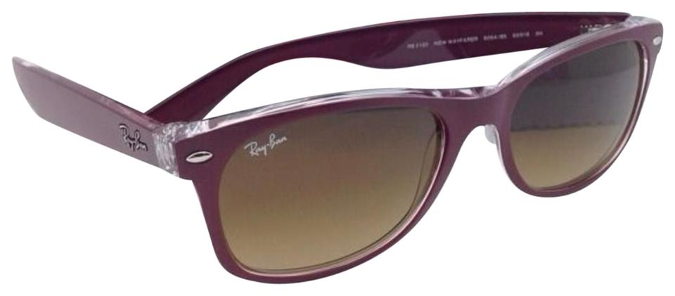 b474110a51 Ray-Ban Rb 2132 6054 85 New Wayfarer Burgundy-clear Brown Fade 6054 ...