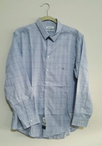 Calvin Klein Calvin Klein Men's Non Iron Opal Aqua Plaid Dress Shirt