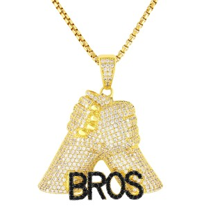 Master Of Bling Hip Hop Brothers For Life Bros Fist Pendant Free Box Chain 24In