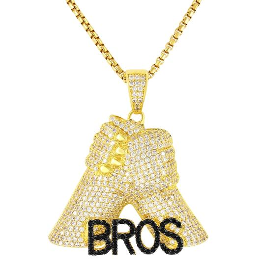 Master Of Bling Hip Hop Brothers For Life Bros Fist Pendant Free Box Chain 24In Image 2