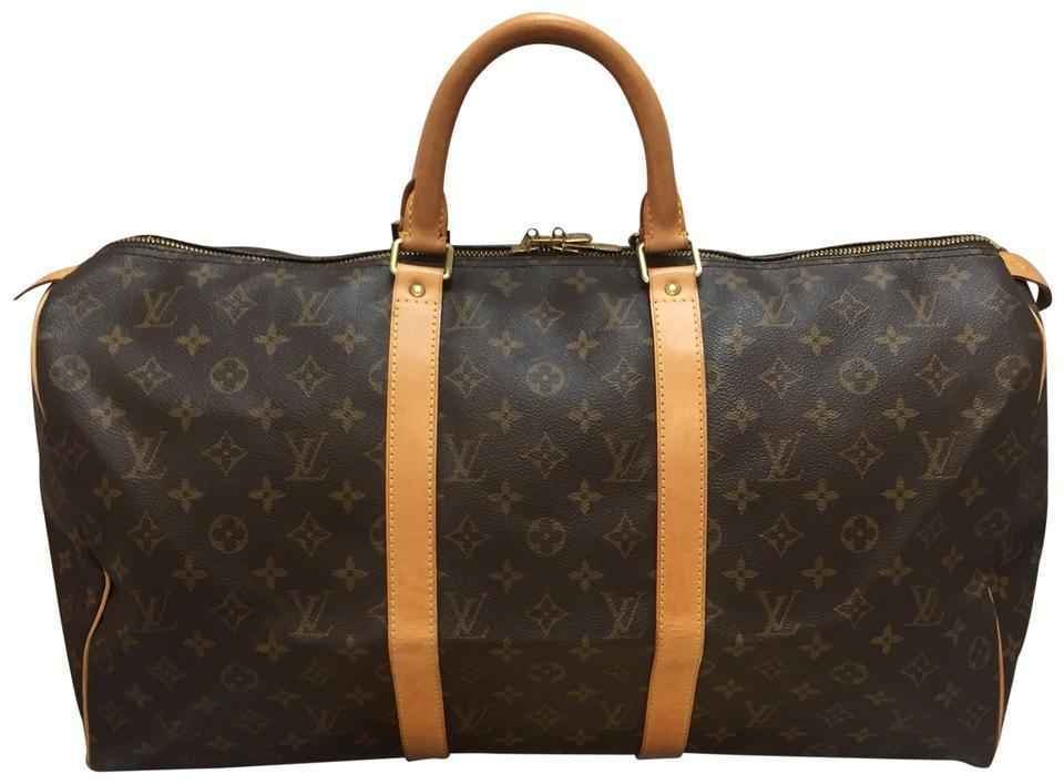6d9403183a5d Louis Vuitton Keepall 50 with Dustbag Luggage Tag Handle Connector Lock  Brown Monogram Canvas Weekend Travel Bag