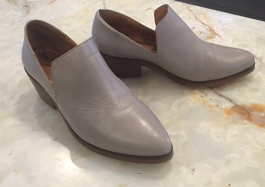 Intentionally Blank Leather Chunky Heel Grey Taupe Boots Image 1
