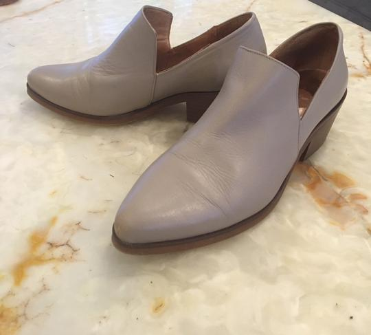 Intentionally Blank Leather Chunky Heel Grey Taupe Boots Image 2