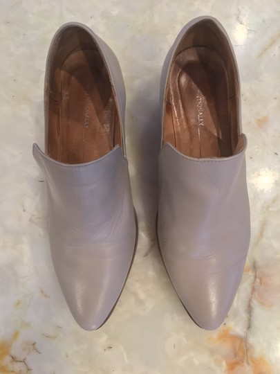Intentionally Blank Leather Chunky Heel Grey Taupe Boots Image 4