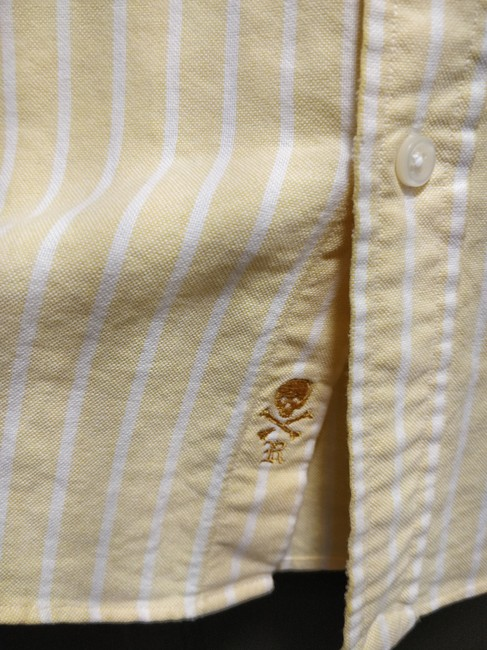 Rugby Ralph Lauren Oxford Preppy Striped Button Down Shirt Yellow Image 1
