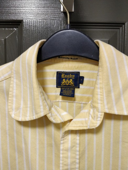 Rugby Ralph Lauren Oxford Preppy Striped Button Down Shirt Yellow Image 2