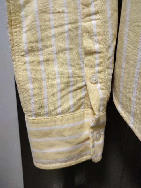 Rugby Ralph Lauren Oxford Preppy Striped Button Down Shirt Yellow Image 3