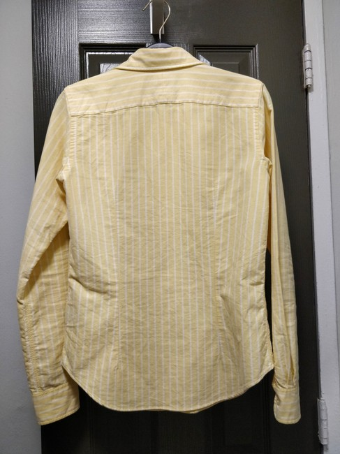 Rugby Ralph Lauren Oxford Preppy Striped Button Down Shirt Yellow Image 4