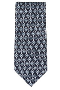 Gucci Gucci men's navy and blue silk horse bit print tie NWOT
