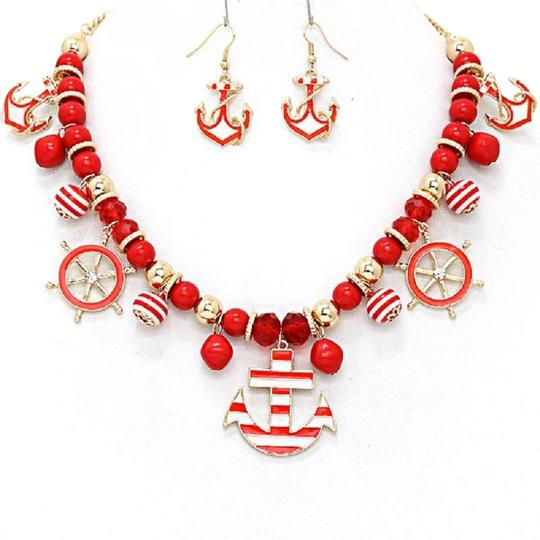 Preload https://img-static.tradesy.com/item/23733054/red-white-sealife-fashion-statement-multi-color-anchor-charm-necklace-0-1-540-540.jpg