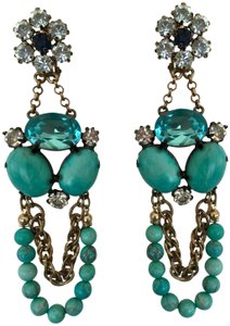 NEIMAN MARCUS NEIMAN MARCUS LARGE TURQUOISE BEAD, RHINESTONE GOLD DANGLE CHANDELIER