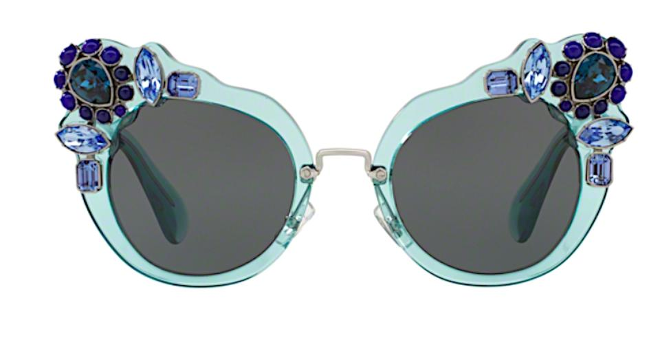 fefffd63a044 Miu Miu Transparent Blue   Gray Lens Free 3 Day Shipping Large Oversized Cat  Eye with Jewels Smu 04s Vaa1a1 Sunglasses
