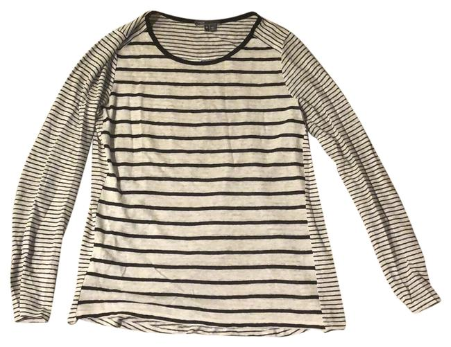 Item - Black and White Striped Linen Longsleeve Tee Shirt Size 8 (M)