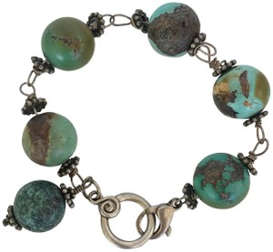 Unbranded LARGE 20 MM TURQUOISE GREEN ROUND BEAD LINK BRACELET, SILVER LINKS