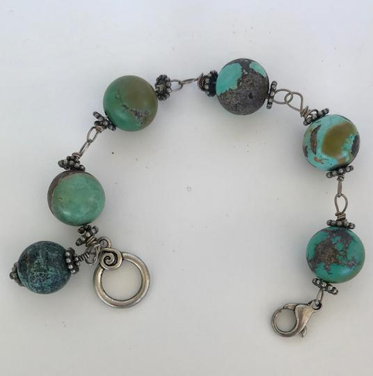 Unbranded LARGE 20 MM TURQUOISE GREEN ROUND BEAD LINK BRACELET, SILVER LINKS Image 1