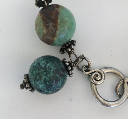 Unbranded LARGE 20 MM TURQUOISE GREEN ROUND BEAD LINK BRACELET, SILVER LINKS Image 2