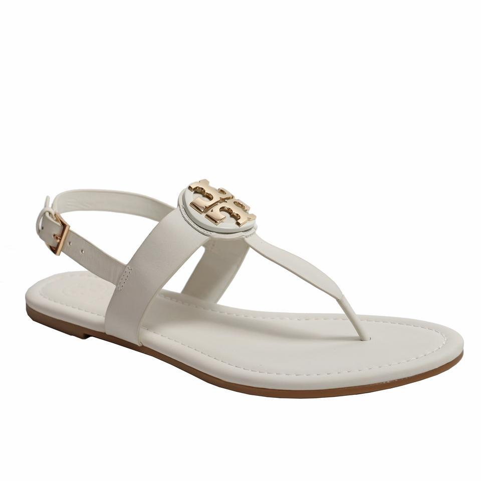 f8a95602cc79 Tory Burch White Bryce Veg Leather Flat Thong Sandals Size US 8 ...