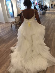 Allure Bridals White Organza Tulle English Net Beaded Embroidery Style 9450 Traditional Wedding Dress Size 16 (XL, Plus 0x)