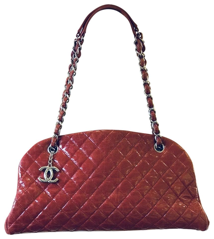 1e6a09de04df Chanel Mademoiselle Just Aged Quilted Medium Red Leather Shoulder ...