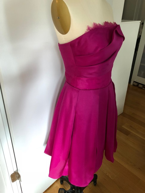 Marchesa Notte A-line Party Sweetheart Satin Pleated Dress Image 2