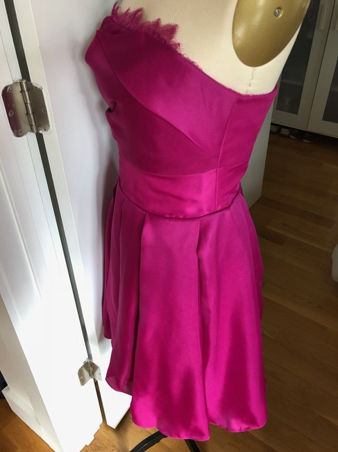 Marchesa Notte A-line Party Sweetheart Satin Pleated Dress Image 3