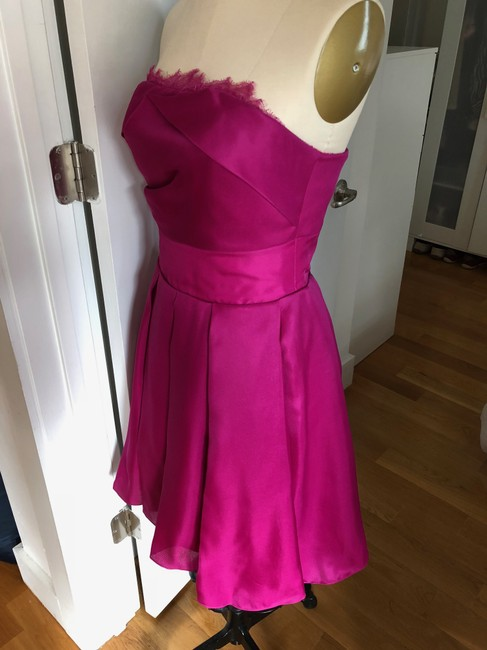 Marchesa Notte A-line Party Sweetheart Satin Pleated Dress Image 4