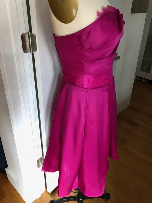 Marchesa Notte A-line Party Sweetheart Satin Pleated Dress Image 5