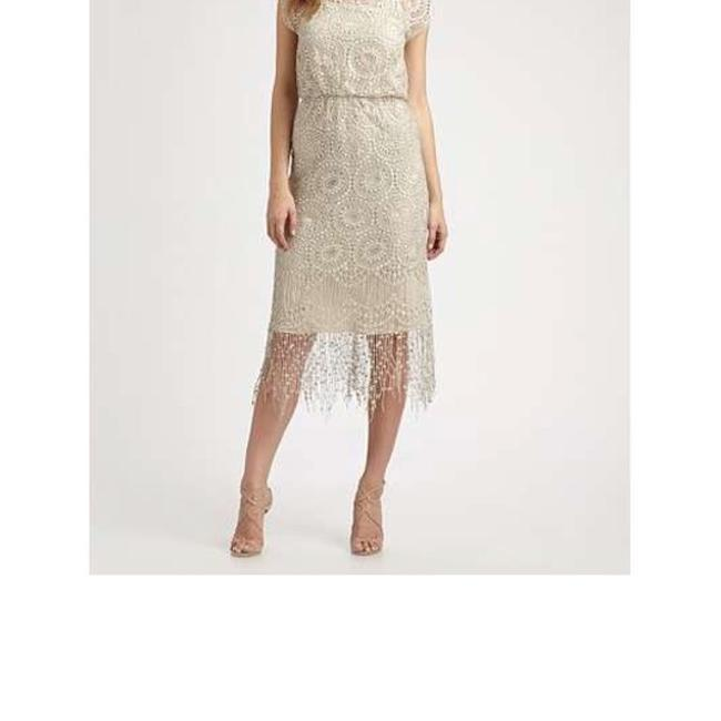 Item - Nude Crochet Mid-length Night Out Dress Size 4 (S)