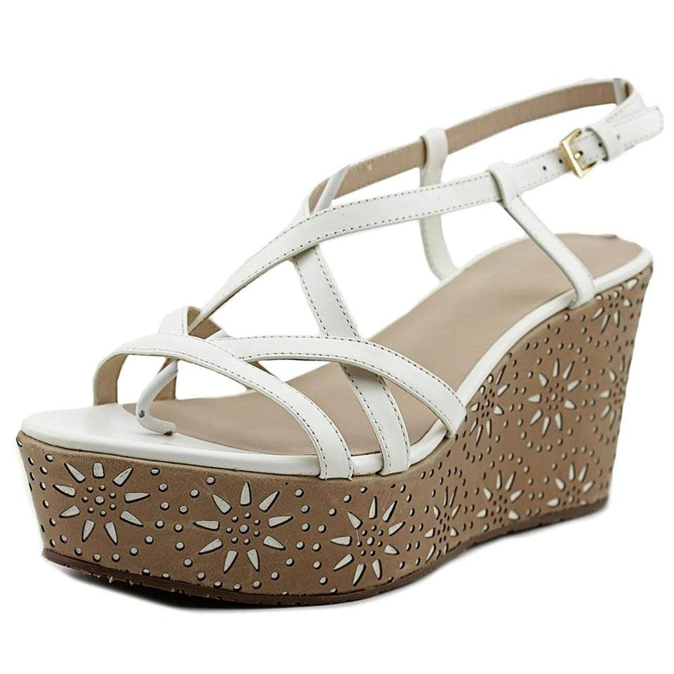 358c9a76b14d Kate Spade White and Brown Tatiana Strappy Wedge Sandals Size US ...
