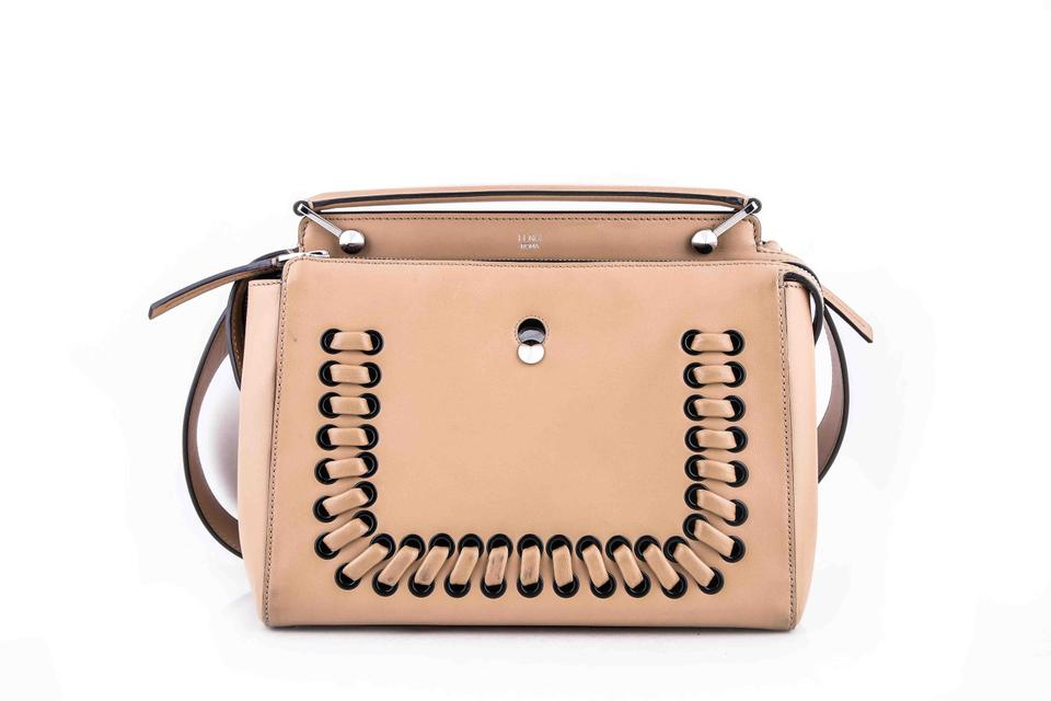 49a73bbfdce8 Fendi Dotcom Click Whipstitch Beige Leather Shoulder Bag - Tradesy