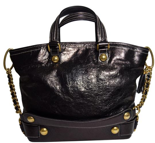 Preload https://img-static.tradesy.com/item/23733977/dolce-and-gabbana-brass-chained-buckled-patent-metallic-eggplant-leather-satchel-0-1-540-540.jpg