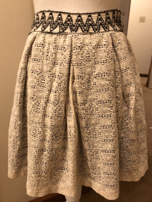 Anthropologie Wide Band Elastic 2 Layers Lacy Practically New Skirt Black satin w/Ivory over lay Image 2