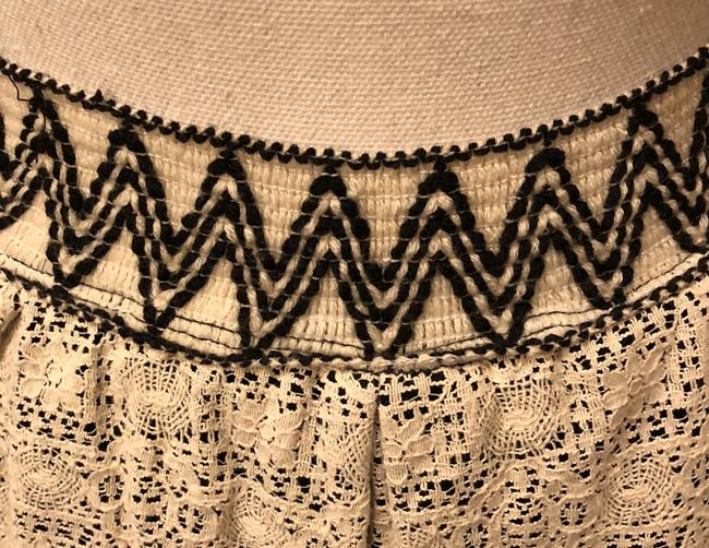 Anthropologie Wide Band Elastic 2 Layers Lacy Practically New Skirt Black satin w/Ivory over lay Image 3