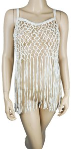 Ark & Co. Fringe Faux Leather Top White