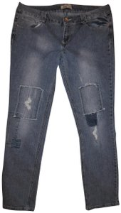 L.E.I. Patches Distressed Worn Skinny Jeans-Distressed