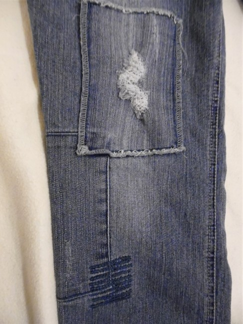 L.E.I. Patches Distressed Worn Skinny Jeans-Distressed Image 2